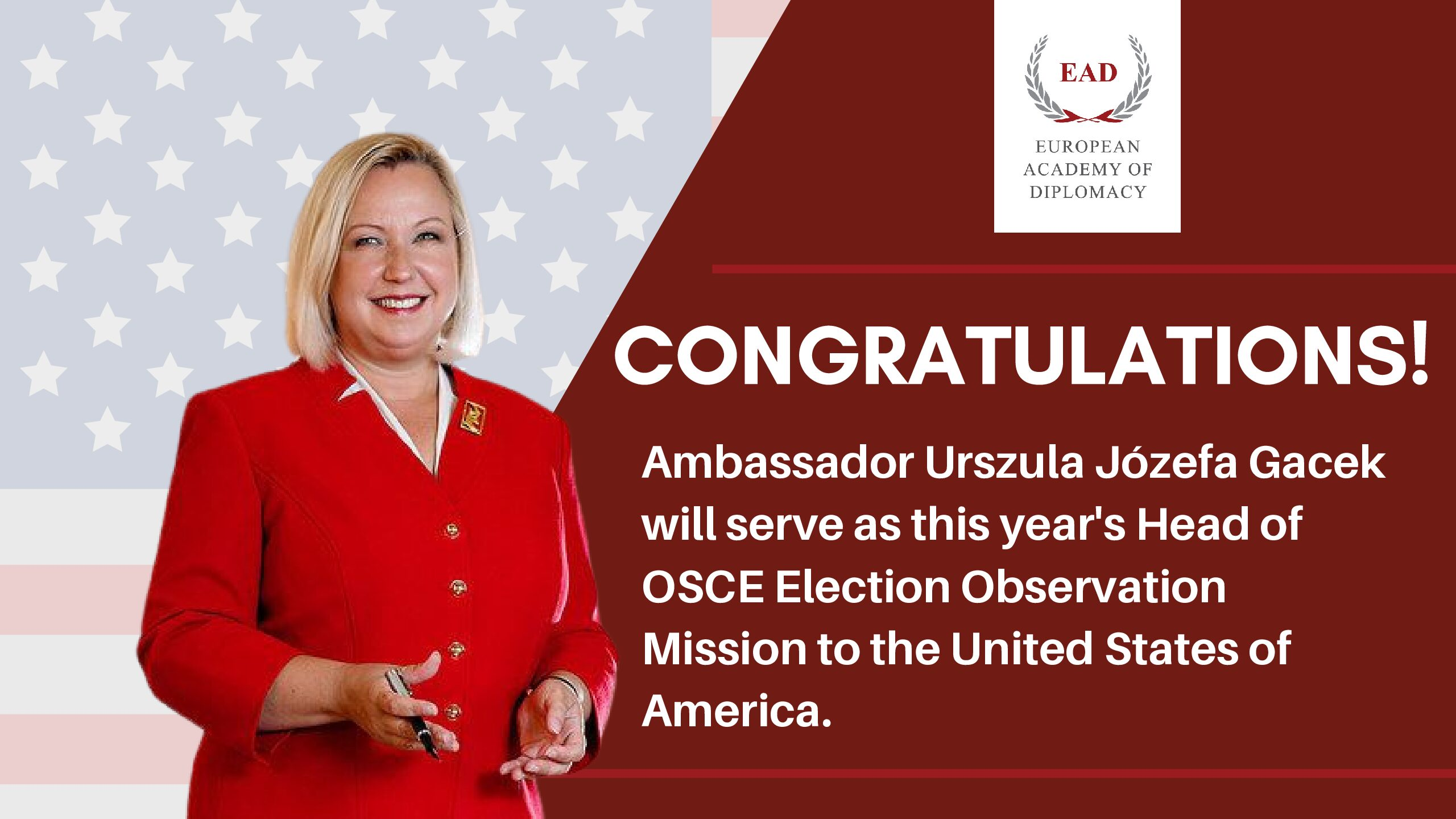 Amb. Urszula Gacek and the Head of the OSCE election Observation Mission to the United States