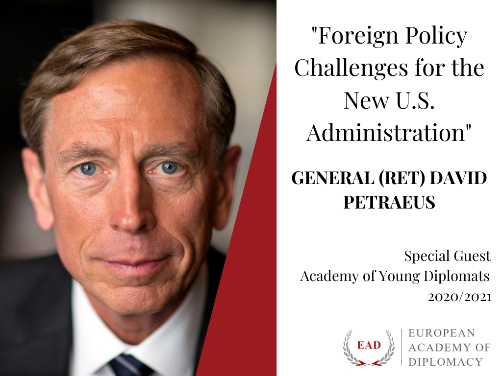 General David H. Petraeus as a Special Guest at the January Session of the Academy of Young Diplomats 2020/2021